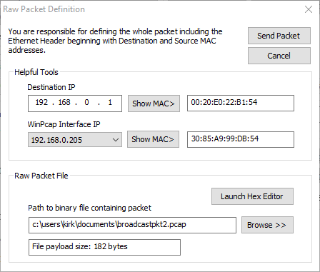 Packet Generator RAW Packet Definition Screenshot